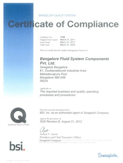 swagelok quality certificate